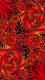 Floral ornament - abstract digitally generated image. Floral ornament, intricate spirals and leaves. Red fractal background - abstract computer-generated image royalty free illustration