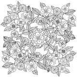 Floral ornament.  Art of mandala style.  Zentangle Stock Photos