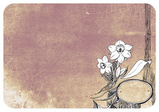 Floral ornament with background. Used, grunge background and floral ornament Royalty Free Stock Images