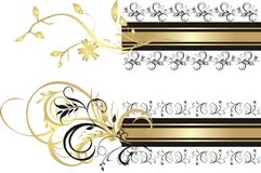 Floral ornament. Backgrounds for two banners. Vector illustration Stock Images