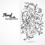 Floral ornament black and white background card Stock Image