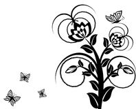 Floral ornament with butterflies. Stock Images