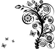 Floral ornament with butterflies. royalty free stock photography