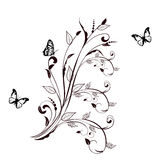 Floral ornament with butterfly. Royalty Free Stock Photo