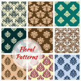 Floral ornament damask vector seamless patterns Royalty Free Stock Image