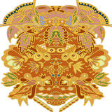 Floral ornament drawing in warm tones Royalty Free Stock Photos