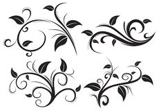 Floral ornament element collection Stock Illustration