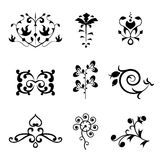 Floral Ornament Elements. A set of flower ornamental elements such as flowers and leaves Royalty Free Stock Photography