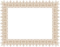 Floral Ornament Frame & Border Positif Outline in Gold Colour for certificate Royalty Free Stock Photo
