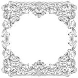 Floral ornament frame, simulates engraving. Royalty Free Stock Images
