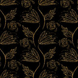 Floral ornament gold seamless pattern texture. Gold trendy glitt Royalty Free Stock Photography