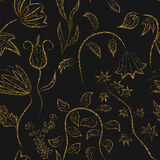 Floral ornament gold seamless pattern texture. Gold trendy glitt Stock Images