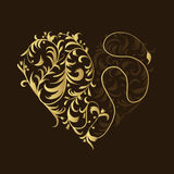 Floral ornament, golden heart shape Royalty Free Stock Photos