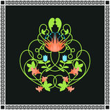 Floral ornament. Green swirls and flowers frame Stock Image