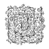 Floral ornament, hand drawn sketch for your design Royalty Free Stock Image