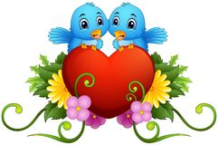 Floral ornament with heart and blue birds Stock Photo