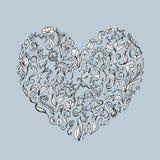 Floral ornament heart shape for your design.  vector illustration