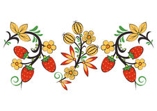 Floral ornament in Hohloma style. Russian folklore Stock Image