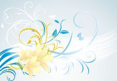 Floral ornament with lilies on the blue background. Illustration Stock Photo