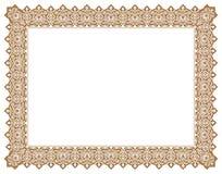 Floral Ornament Negative Outline Frame & Border in Gold royalty free stock images