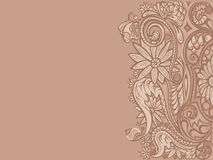 Floral ornament pattern on sienna background Royalty Free Stock Images