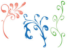 Floral ornament patterns. Pink, blue and green fantasy ornament samples Royalty Free Stock Image