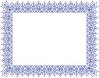Floral Ornament Positif Outline Frame & Border in Blue stock photo