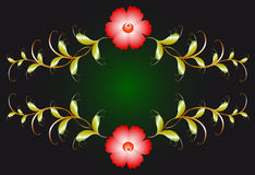 Floral ornament and red flowers on dark. EPS10. Vector illustration Stock Photo