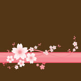 Floral Ornament - Sakura. Sakura flowers on the brown ground Royalty Free Stock Images