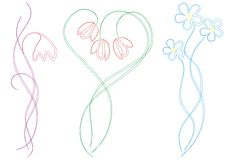Floral ornament samples illustration Stock Images