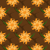 The floral ornament. Seamless pattern. Abstract flowers and leaves on the background mesh. Drawn a ragged brush. Royalty Free Stock Image