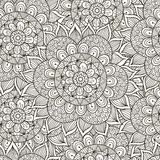 Floral ornament seamless pattern. Black and white round ornament texture Stock Photography
