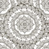 Floral ornament seamless pattern. Black and white round ornament texture. In vector. Great choice for wrapping, printing and fabric paper and for adult coloring Royalty Free Stock Images