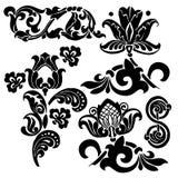 Floral ornament set. Ornament in Art Nouveau style. Set of elements Stock Images