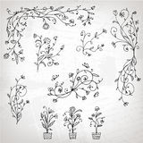 Floral ornament sketch, silhouette Royalty Free Stock Image