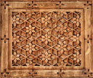 Floral ornament on stone wall in Jaisalmer, India Royalty Free Stock Photos