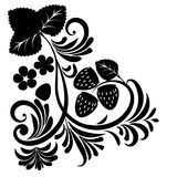 Floral ornament with strawberries silhouettes Stock Photography