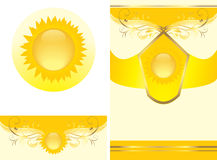 Floral ornament with sun. Decorative elements Royalty Free Stock Photos