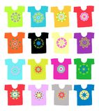 Floral ornament on white t-shirt, collection for. Your design. This is file of EPS10 format Royalty Free Stock Images