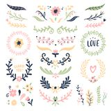 Floral ornament wreath. Retro flower swirl banner, wedding card flowers garland frames and ornamental dividers isolated royalty free illustration