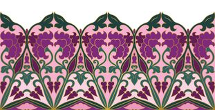 Floral ornamental border. Abstract floral pattern. Vector colorful border. Template for textile, carpet, frame, shawl Royalty Free Stock Image