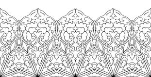 Floral ornamental border. Abstract floral pattern. Vector black and white border. Template for textile, carpet, shawl Royalty Free Stock Photography