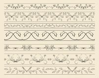 Floral ornamental borders - set of vector decorations Royalty Free Stock Image