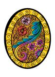 Floral ornamental on oval frame. Royalty Free Stock Photo