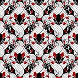 Floral ornamental red black white vector seamless pattern. Hand stock illustration
