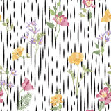Floral ornamental seamless pattern. Abstract flower bouquet back. Ground. Spring garden flourish decor Stock Photos