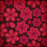 Floral ornamental seamless pattern. Decorative flowers background. Endless ornate texture for prints, crafts, textile. Deep red tracery Stock Images