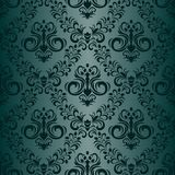 Floral ornamental seamless turquoise Wallpaper in retro style Royalty Free Stock Photos