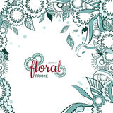 Floral and ornamental spring item frame background with abstract flowers and monochrome Royalty Free Stock Photo