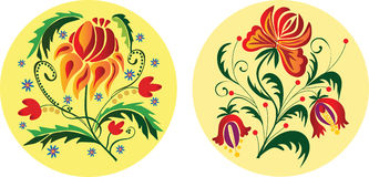 Floral Ornaments. Two folk styled floral ornaments. Vector illustration Stock Photos